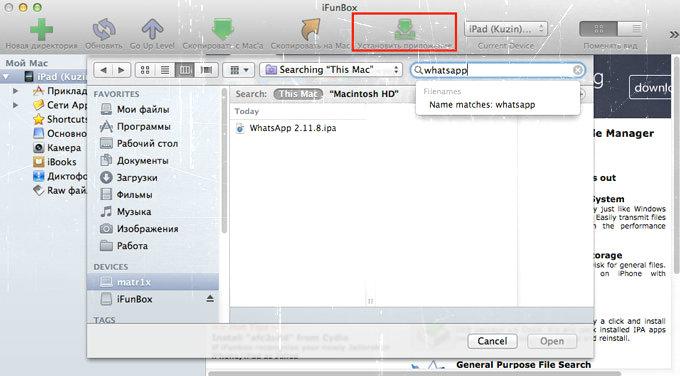 Установка WhatsApp на iPad через программу iFunBox